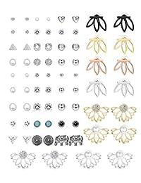 Hanpabum 35Pairs Assorted Multiple Stud Earrings for Women Girls Lotus Flower Ear Jacket Vintage Fake Pearl Ball CZ Earrings Set