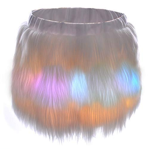 Unicorn White Fur Led Skirt for Women - Mini Short Light Up Tutu Skirts for Rave Cosplay Costume Christmas Halloween Festival EDC Dance Party Rainbow Clothing Outfit (Led Skirt-S)]()