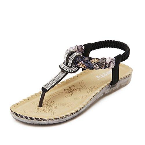 Toe Black Herringbone Beige Clip M Bohemia Womens B Summer Socofy Casual Sandals Floral Diamond Beach Wild Elastic Flats 11 wYqSSUz
