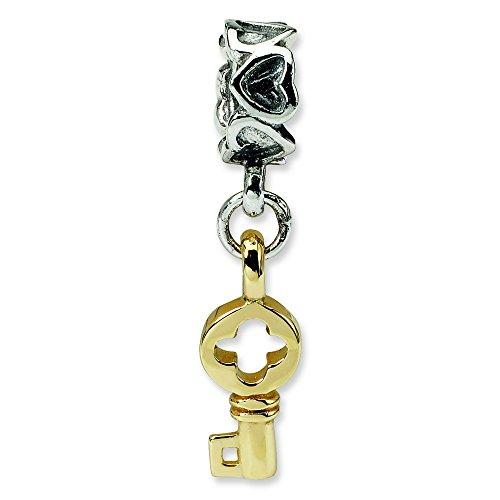 Argent Sterling réflexions Clé 14 Carats Pendentif Charm perle JewelryWeb