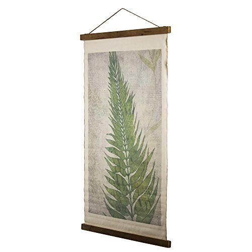 Crystal Art Fern Leaf Wall Scroll Tapestry with Rope, 37