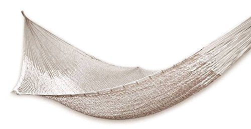 NOVICA Cotton Ivory Rope Hammock 'Caribbean Beach' (Single) (House Caribbean Hooks)