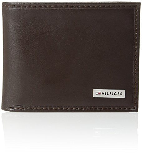 Leather Plaque (Tommy Hilfiger  Men's  Leather Passcase Wallet,Brown Plaque)