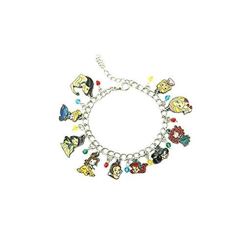 Athena Brand Disney's Princesses Fairytale Characters Cartoon Movie Theme Logo Series Charm Jewelry Bracelet w/Gift Box by -