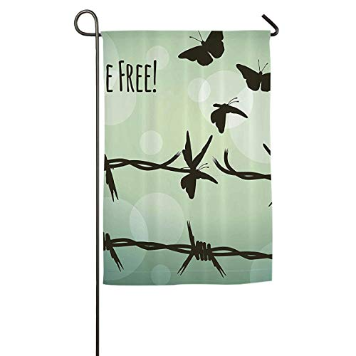 (HenSLK Be Free Butterfly Vertical House Flag,Garden Flag,Home Flag,Indoor Flag Yard Indoor & Outdoor Decoration 12x18inch & 18x27inch)