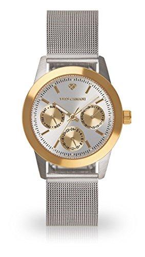 YVES CAMANI Madelaine Women's Wrist Watch Quartz Analog Silver Milanaise Mesh Stainless Steel Strap Gold Silver Dial YC1100-B-693
