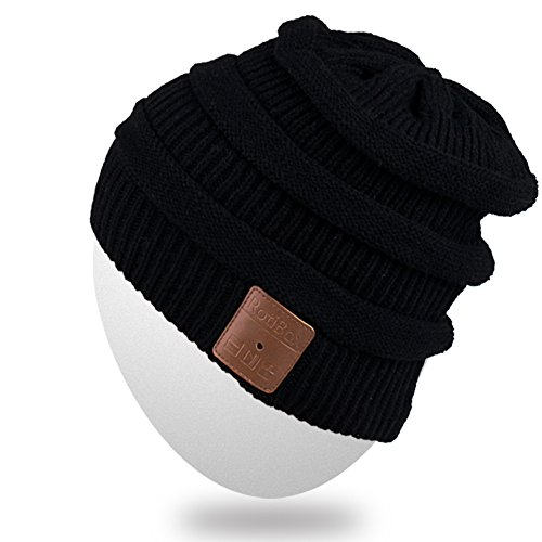 Rotibox Rechargeable Bluetooth Music Beanie Hat Fashional Double Knit Skully Cap w/Wireless Stereo Headphone Headset Earpiece Speakerphone Mic for Sports Skating Hiking Camping - Black