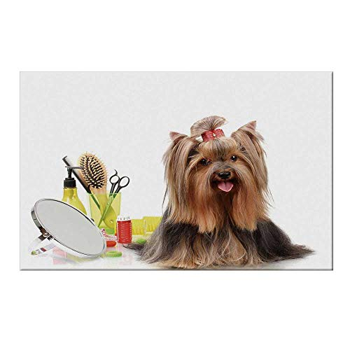 YOLIYANA Yorkie Durable Door Mat,Yorkshire Terrier with Stylish Hairdressing Equipment Mirror Scissors Decorative for Home Office,19.6