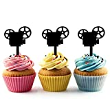 TA0854 Movie Projector Silhouette Party Wedding Birthday Acrylic Cupcake Toppers Decor 10 pcs