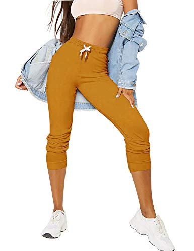 Ma Croix Womens French Terry Cropped Joggers with Pockets Cotton Fleece Active Sweatpants (Small, 3ua02_Canary Mustard) ()