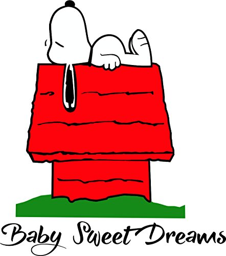 Custom Decals for Rooms, Snoopy Dog House Sweet Dreams Wall Decals Women and Men Bedroom Design, Unique Designs Walls, Vinyl Removable Sticker Decal Art Cute Creative Size 20x20inch