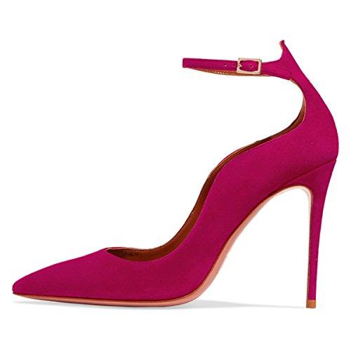 Cavigliere Pattini Lavoro Punta Dell'ufficio Aumentato Stiletto Aguzza Donne Rosa Elegante Pompe Tallone Nj qYvAFw