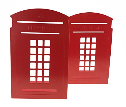 A Pair Of Red British Style London Telephone Booth Nonskid Metal Bookends For Kids Childrens Bedroom Library School Office Desk Study Gift by UniGift