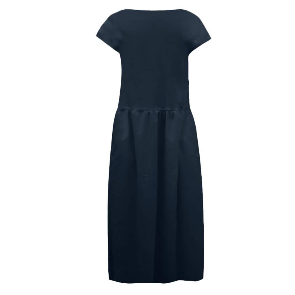 Women's Cotton Linen Dresses Cap Sleeve Summer Maxi O Neck Dress with Pockets Navy by Jianekolaa_Dress (Image #8)