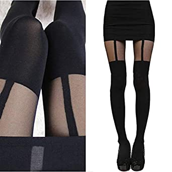 83001df896b76 World 2 home Sexy Black Women Temptation Sheer Mock Suspender Tights  Pantyhose Stockings Cool Mock Over The Knee Double Stripe Sheer Tights:  Amazon.in: ...