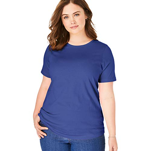 (Woman Within Women's Plus Size Perfect Crewneck Tee - Ultra Blue, 2X)