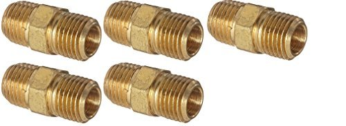 Anderson Metals 56122 Brass Pipe Fitting, Hex Nipple, 1/4'' x 1/4'' NPT Male Pipe (5 X BRASS PIPE FITTING)