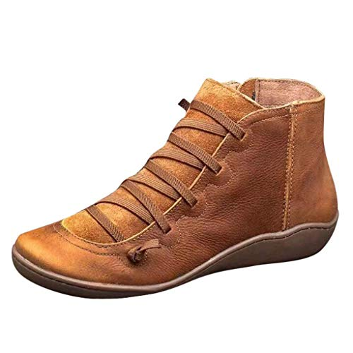 Women's Ankle Boots Ladies Leather Retro Lace up Side Zip Vintage Booties Flat Heel Arch Support Shoes Brown (Ladies Heel Boots)