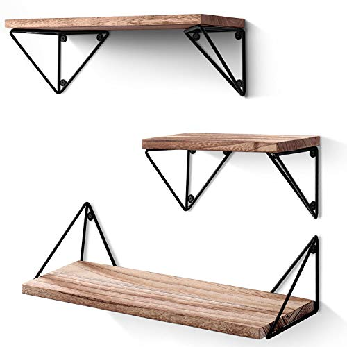 BAYKA Floating Shelves Wall Mounted Set of 3, Rustic Wood Wall Shelves for Living Room, Bedroom, Bathroom