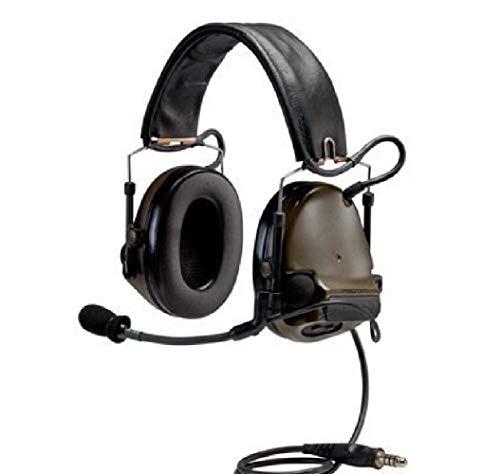 3M PELTOR ComTac ACH Communication Headset MT17H682FB-49 GN, Dual Comm, Single Downlead, Flexi Boom Mic, O.D. Green 1 ()