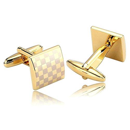 Purple Checkered Studs (AnaZoz Jewelry Stainless Steel Mens 1 Pair Cufflinks Checkered Square Design Gold Silver Men's Cuff Links)