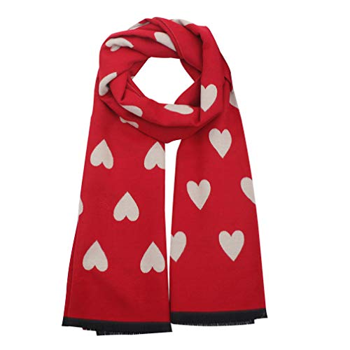 GERINLY Sweet Scarf with Love Heart Print Warm Neck Wraps for Women Chic Gift for Lovers (Red)