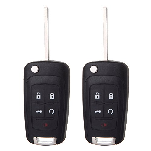 cciyu 2PCS Uncut 5 Buttons Keyless Entry Remote Fob Replacement fit for Buick LaCrosse Verano Encore/Chevrolet Camaro Cruze Impala/Dodge Dakota Caliber/Jeep Compass Patriot Wrangler (OHT01060512)]()
