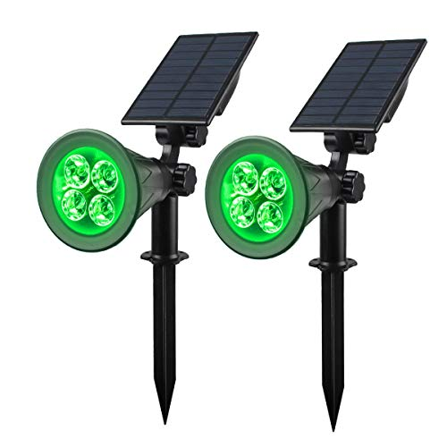 Solar Spotlight, IP65 Waterproof 4 LED Solar Lights Wall Light,Auto-on/Off Security Light Landscape Light 180° Angle Adjustable for Tree,Patio,Yard,Garden,Driveway,Pool Area.T-SUNUS(2 Pack Green)