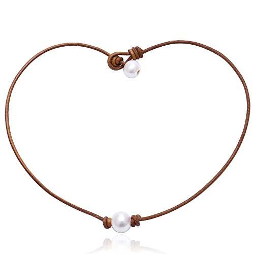 Aobei Pearl Single Cultured Freshwater Pearl Necklace Choker for Women Genuine Leather Jewelry Handmade 18'' Tan (Tan Mother Pearl Of)