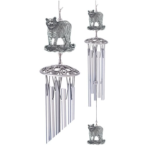1pc, Pewter Tiger Wind Chime