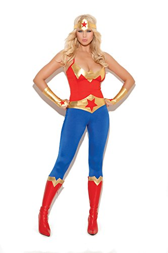 Best Superhero Couple Costumes (Womens Sexy Female Girl Super Hero Halloween Roleplay Cosplay Costume 5pc Set (S, Red/Blue))