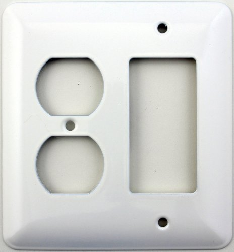 Mulberry Princess Style White Two Gang Combination Switch Plate - One Duplex Outlet Opening One GFI/Decora Opening