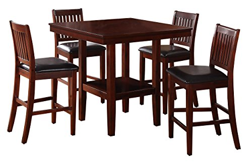 Homelegance Galena 5-Piece Counter Height Dining Set, Cherry