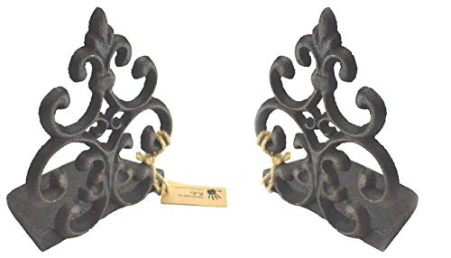 (Lulu Decor, Cast Iron Fleur De Lis Door Stop, Door Stopper in Antique Black Finish, Beautiful and Useful Product (2 Piece) )