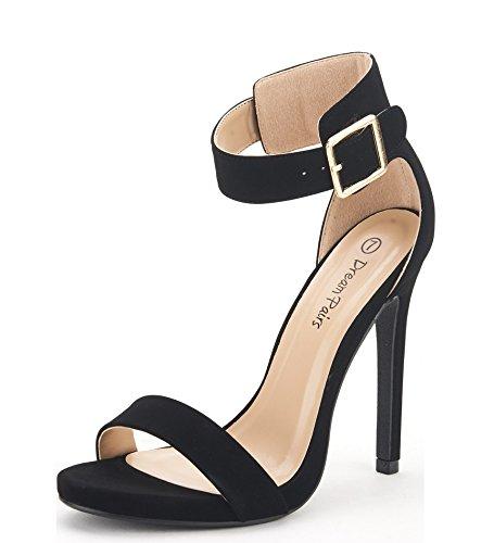 DREAM PAIRS ELEGANTEE Women's Evening High Heels Open Toe Ankle Strap Platform Casual Stiletto Pumps Sandals BLACK NUBUCK SIZE - Toe Black Open Platform
