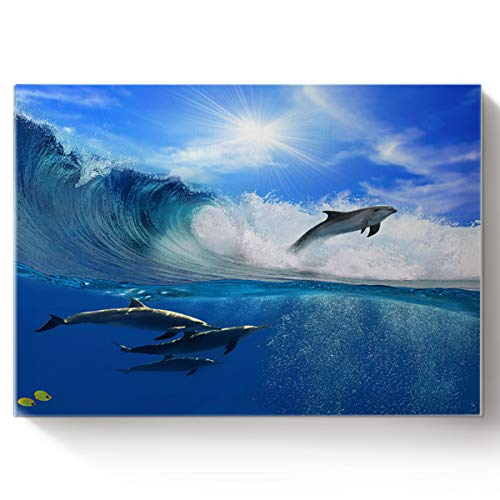 Arts Language Paint by Number Acrylic Kits for Adults Kids DIY Oil Paintings Canvas Framed Wall Art Decor for Livingroom Bedroom-3D Dolphins Sea Animal Pattern 16x20in ()
