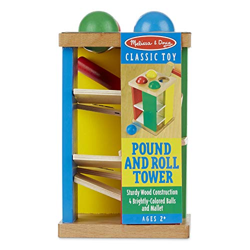 "Melissa & Doug Pound & Roll Tower, Developmental Toy, Classic Pounding Toy, Bright-Colored Pieces, Durable Construction, 10"" H x 5.65"" W by Melissa & Doug (Image #4)"