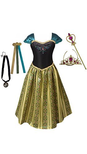 Anna Coronation Dress, Tiara, Wand, Necklace and Hair Clip, Green, 4-5 Years, Tag size 120