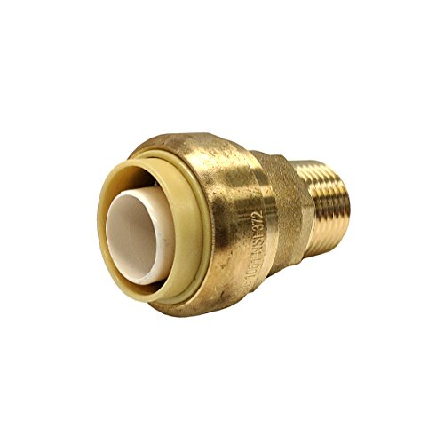 Libra Supply Lead Free 3/4 inch Push x 1/2 inch MIP Push-Fit Male Adapter, Push to Connect, Push x MIP(Click in for more size options), 3/4'' Push x 1/2'' MIP Brass Pipe Fitting Plumbing Supply