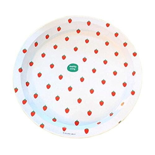 [Strawberry] WHITE Round Trays Iron Decorative Trays Multifunction ()