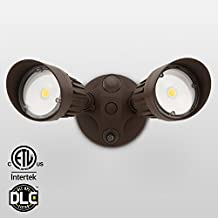 20W Dual-Head Dusk to Dawn LED Outdoor Security Light, Photocell, DLC-listed Exterior Lamp, 120W Halogen Equiv., 5000K Daylight, 1600Lm Floodlight, Entryways, Porch,Bronze