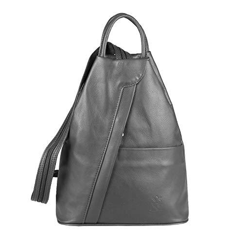 Obc Made In Italy Sac à bandoulière Sac à dos pour femme en cuir véritable Nappa - Fer, Environ 25x30x11 cm (Bxhxt) Gris