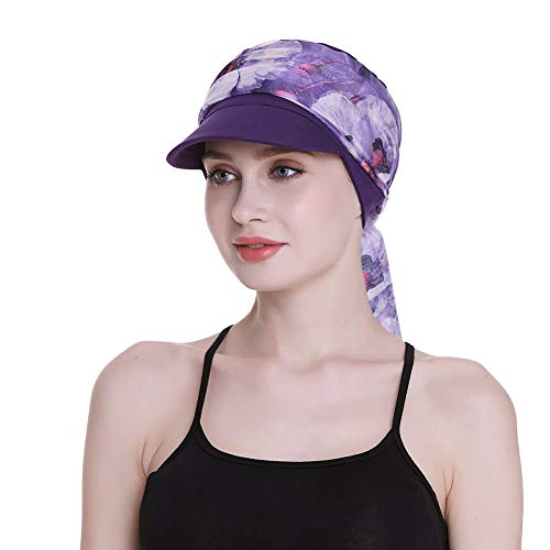 Cowboys Caps for Cancer Women Winter Headwear Scarves Chemo Hair Loss Purple]()