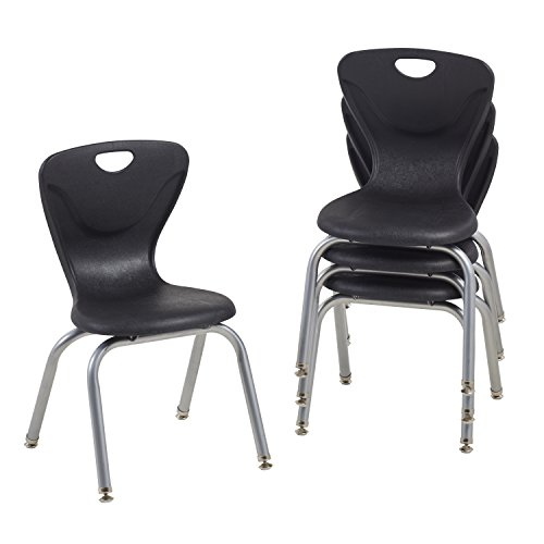 School Stacking Student Chair, Molded, Black (Set of 4) ()