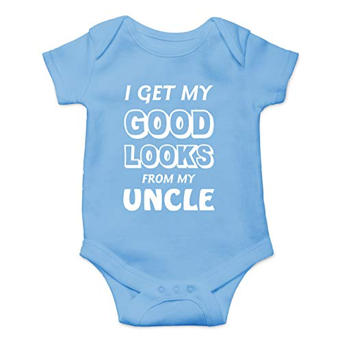Get My Good Looks from My Uncle - Wingman - Funny Cute Infant Creeper, One-Piece Baby Bodysuit (Light Blue, 12 Months)