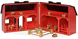 product image for Amish-Made Large Wooden Red Toy Barn and Farm Animal Set