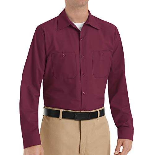 Red Kap Men's Size Industrial Work Shirt, Regular Fit, Long Sleeve, Burgundy, X-Large/Tall