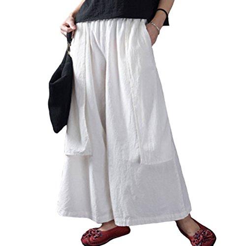 Womens Cropped Wide Leg Linen Pants (Aeneontrue Women's Casual Cropped Wide Leg Pants With Elastic Waist White)