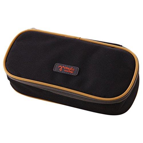 VIASA Big Capacity Multifunction Canvas Pencil Case Bag Storage Organizer Pencil Case (Black) (Ivory Pen Diamond)