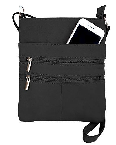 Roma Leathers Mini Body Purse - Five Compartments, Adjustable Strap - Black (RM011-BLK) Black Across Body Bag